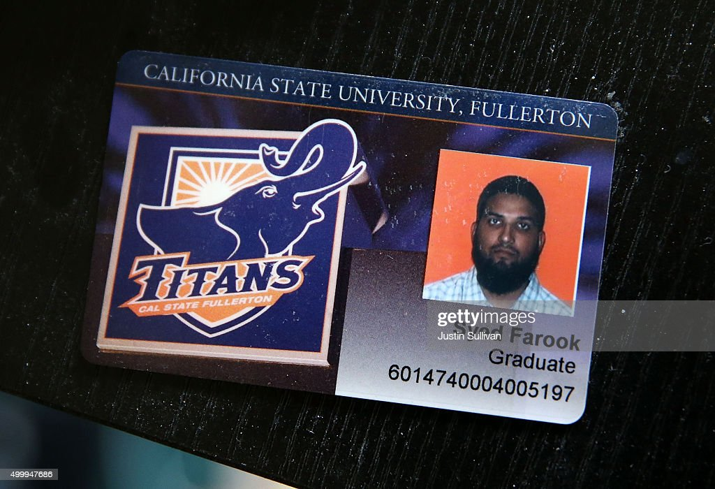 The California State University Fullerton student identification of Syed Farook sits on a desk inside the home of Syed Farook on December 4 2015 in...