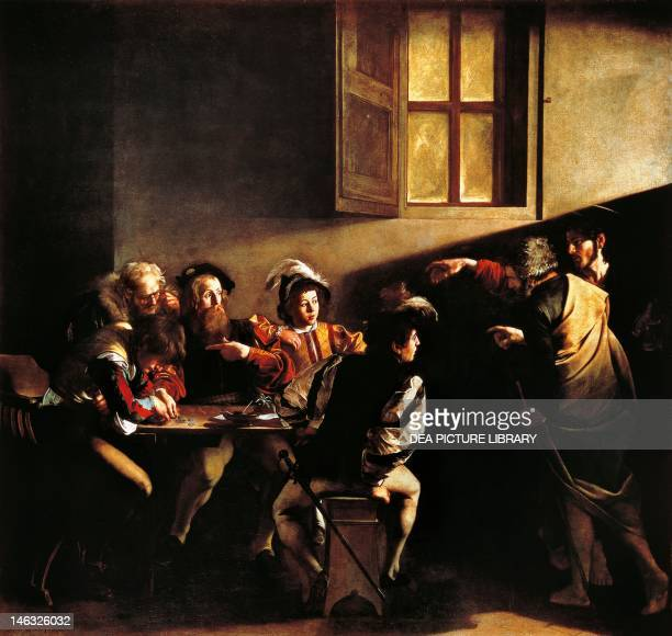 The calling of St Matthew by Michelangelo Merisi da Caravaggio oil on canvas 322x340 cm Church of St Louis of France Contarelli Chapel Rome
