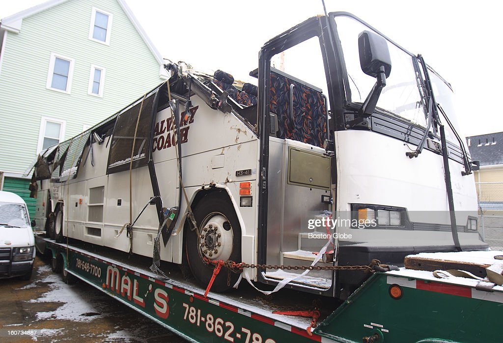 The Calvary Coach bus involved in a serious crash on Soldiers Field Road on Saturday evening, February 2, 2013 was towed to Mal's Service Center in Arlington, Mass. The bus was carrying a group of high school students and traveling eastbound on Soldiers Field Road when it crashed into the overhead pass of the Western Avenue Bridge. By Sunday morning, the crash site was cleared.