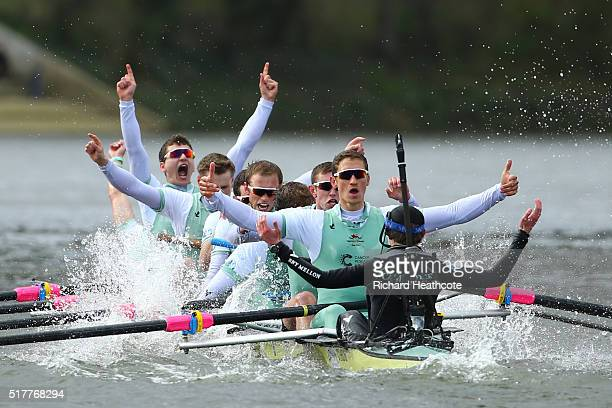 The Cambridge crew celebrate following their victory during The Cancer Research UK Boat Race on March 27 2016 in London England