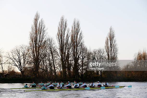 The Cambridge crews 'Not Out' and '63' race during the Cambridge University Boat Club trial eights race on the River Thames on December 10 2014 in...