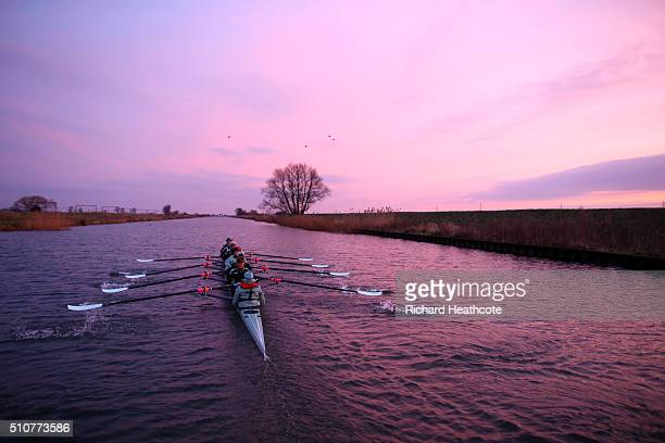The Cambridge University Boat Club Women's crew head out before sunrise to train on the River Great Ouse ahead of this years 2016 Cancer Research UK...