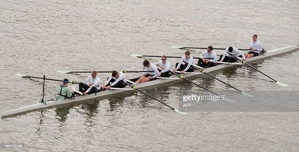 The Cambridge University boat crew reacts after losing the annual boat race against Oxford University boat crew on the River Thames in London on March 31, 2013. Oxford won the 159th Annual boat race between Oxford University and Cambridge University.