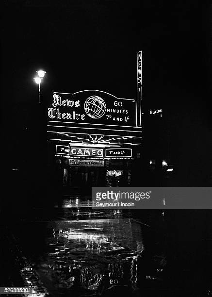 The Cameo News Theatre showing newsreels UK circa 1935 Among the features advertised are 'Special Pictures of the Loch Ness Monster'