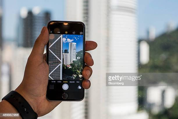 The camera function on an Apple Inc iPhone 6s smartphone is demonstrated in an arranged photograph in Hong Kong China on Friday Sept 25 2015 The...