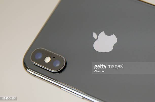 The camera of the Apple iPhone X is seen on the new model of Apple smartphone at the Apple Store SaintGermain on November 3 2017 in Paris France...