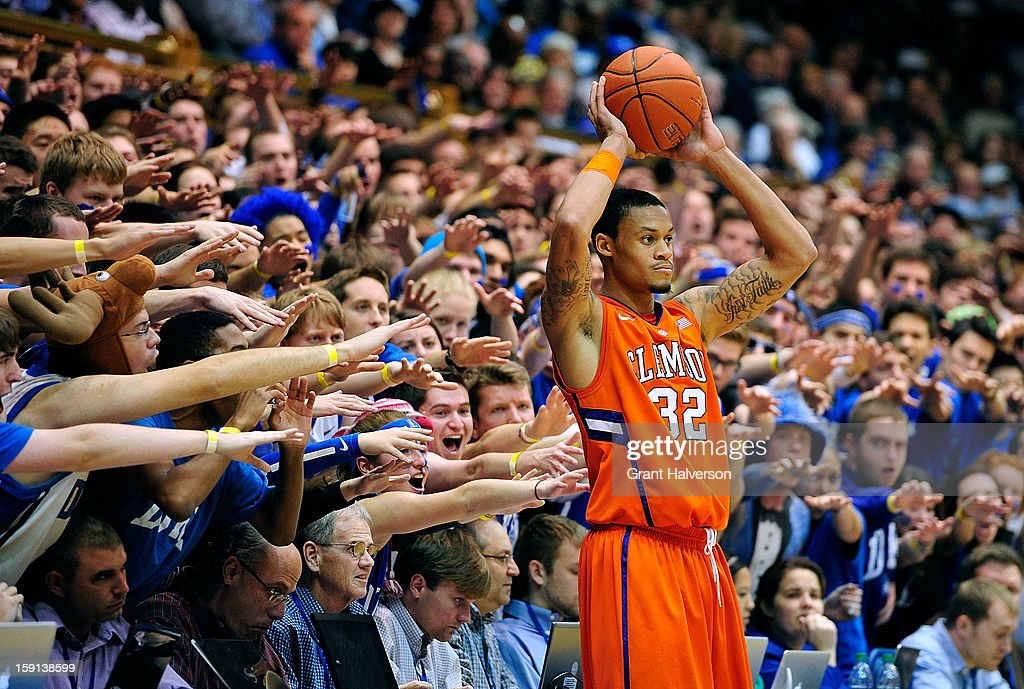 The Cameron Crazies taunt K.J. McDaniels #32 of the Clemson Tigers as he prepares to inbound the ball against the Duke Blue Devils during play at Cameron Indoor Stadium on January 8, 2013 in Durham, North Carolina. Duke won 68-40.