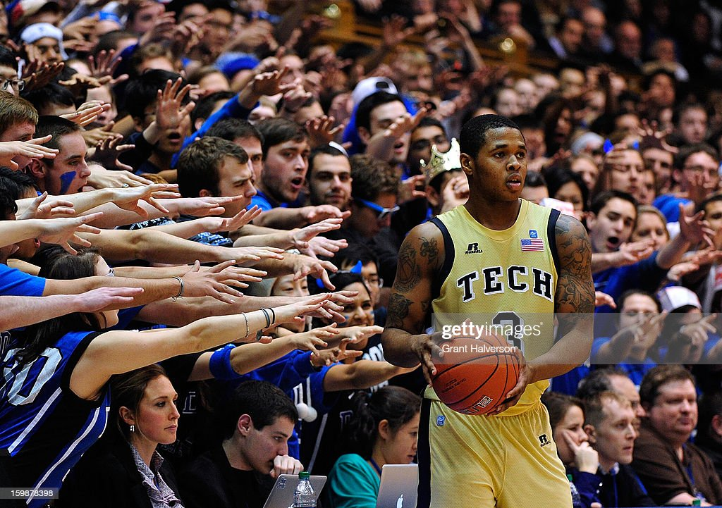The Cameron Crazies taunt Marcus Georges-Hunt #3 of the Georgia Tech Yellow Jackets as he inbounds the ball against the Duke Blue Devils during play at Cameron Indoor Stadium on January 17, 2013 in Durham, North Carolina.