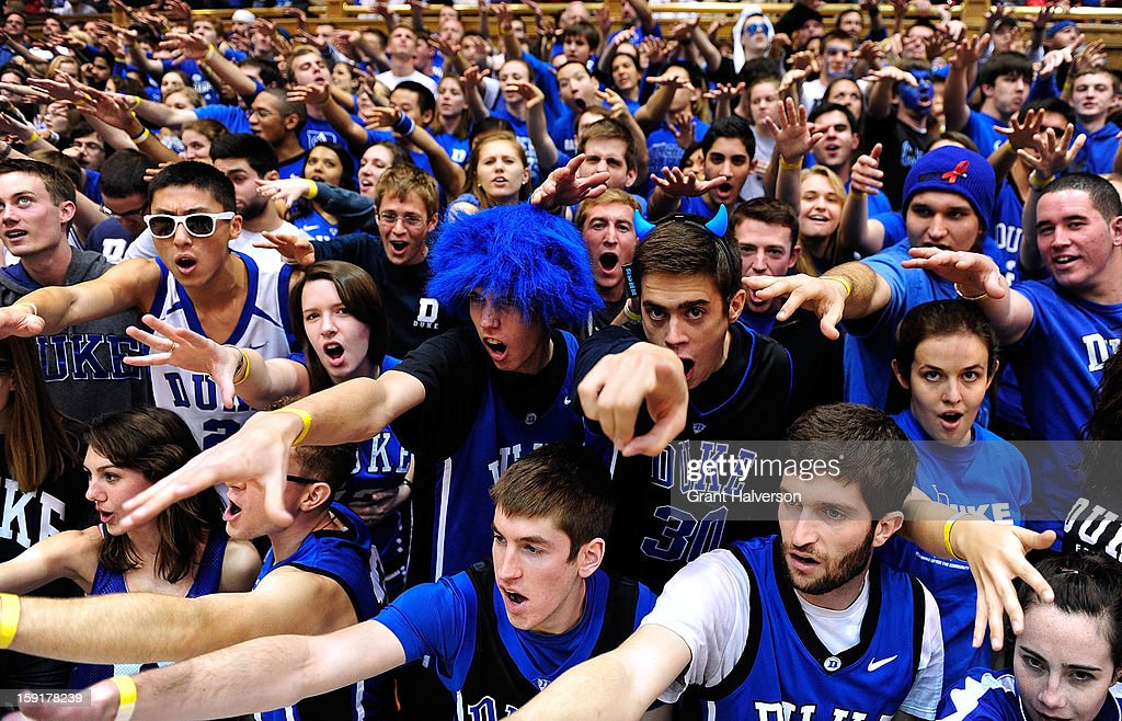The Cameron Crazies taunt the Clemson Tigers as they take the floor for a game against the Duke Blue Devils at Cameron Indoor Stadium on January 8, 2013 in Durham, North Carolina.