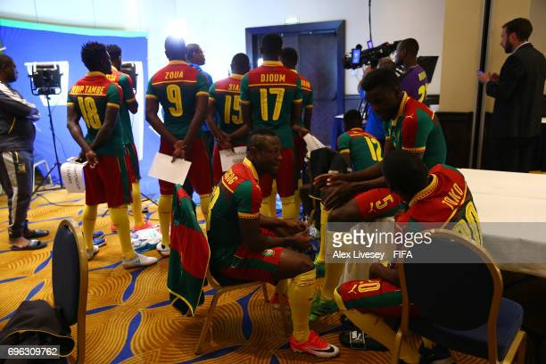 The Cameroon players are seen behind the scenes during a filming session ahead of the FIFA Confederations Cup Russia 2017 at the Renaissance Monarch...