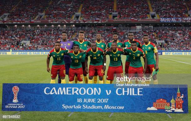 The Cameroon team pose for a team photo prior to the FIFA Confederations Cup Russia 2017 Group B match between Cameroon and Chile at Spartak Stadium...