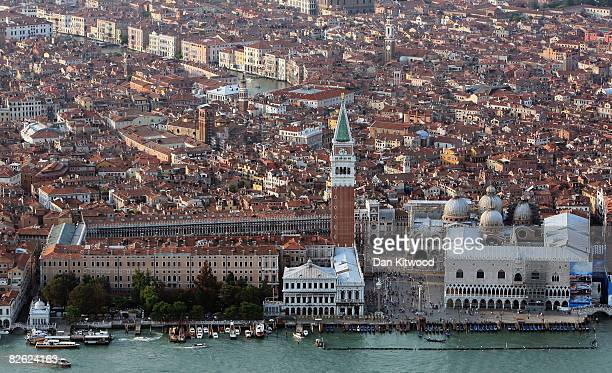 The Campanile rises over St Mark's Square in a view from the air during the 65th Venice Film Festival on September 1 2008 in Venice Italy