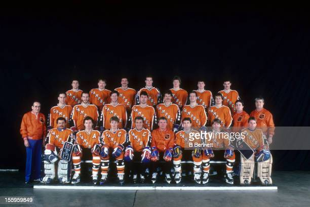 The Campbell Conference AllStars pose for a group portrait before the 1986 38th NHL AllStar Game against the Wales Conference on February 4 1986 at...