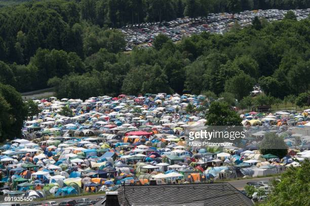 The camping site during the second day of 'Rock am Ring' on June 3 2017 in Nuerburg Germany