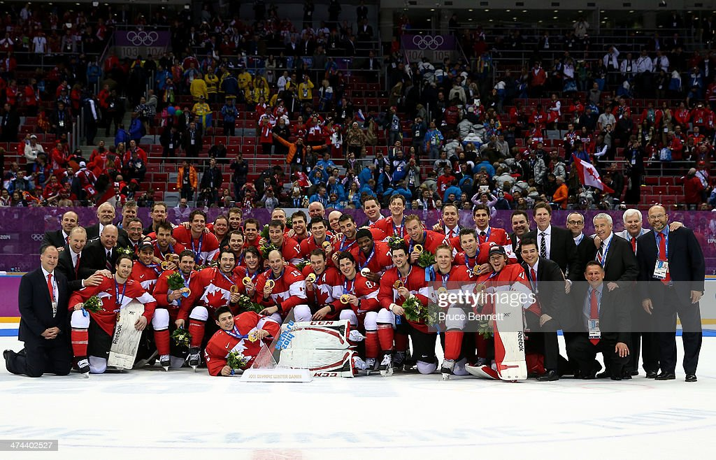 The Canada team pose with the gold medals won during the Men's Ice Hockey Gold Medal match against Sweden on Day 16 of the 2014 Sochi Winter Olympics at Bolshoy Ice Dome on February 23, 2014 in Sochi, Russia.