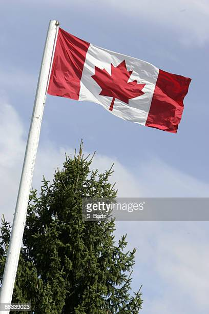 The Canadian flag flies over the course during the second round of the 2005 Bell Canadian Open September 9 held at Shaughnessy Golf Country Club...