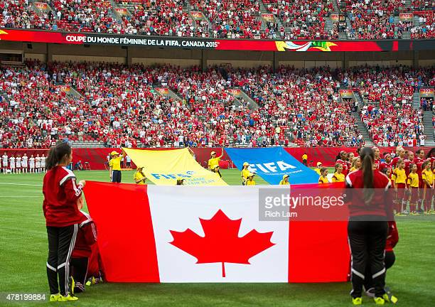The Canadian flag shown during the national anthems prior to the start of the FIFA Women's World Cup Canada 2015 Round of 16 match between...