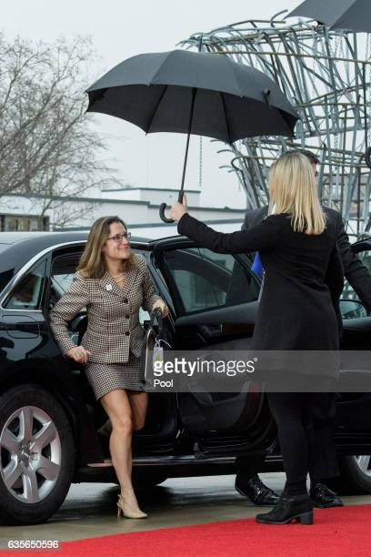The Canadian Foreign Minister Chrystia Freeland arrives at the World Conference Center on February 16 2017 in Bonn Germany The meeting is the first...
