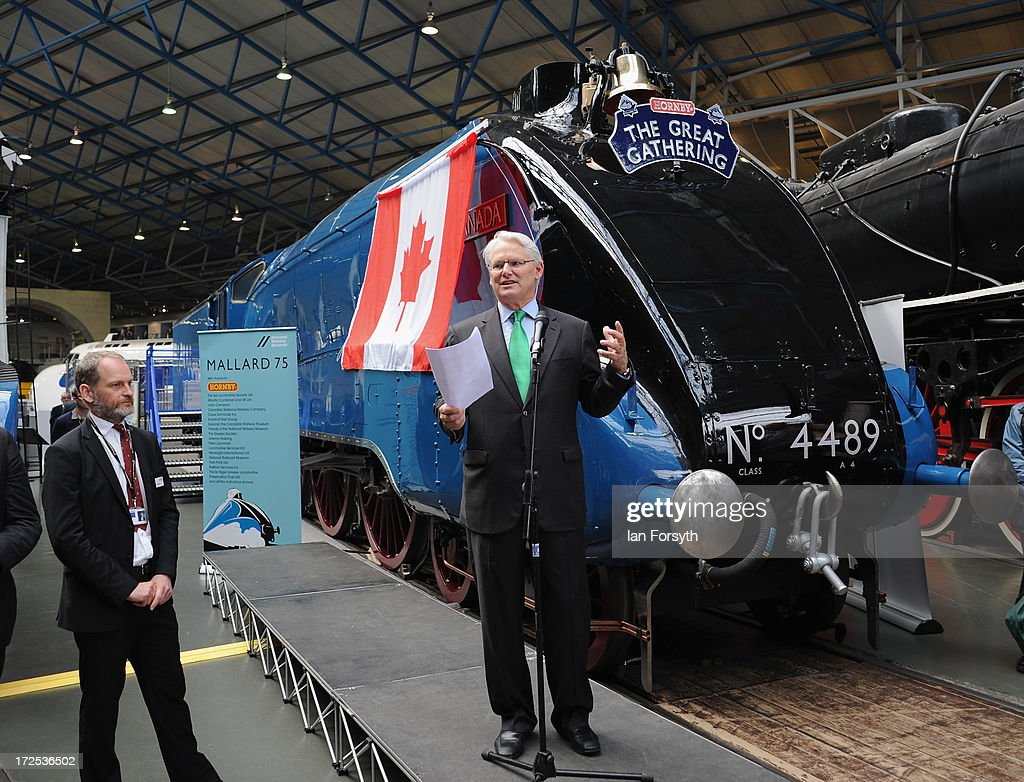 The Canadian High Commissioner Gordon Campbell speaks to waiting visitors and media at the recomissioning of the locomotive Dominion of Canada at the National Railway Museum on July 3, 2013 in York, England. The National Railway Museum's 'Great Gathering' marks 75 years since the world's fastest steam locomotive, Mallard, made its world record breaking run in 1938, and reunites the locomotive with its five sister locomotives, the Sir Nigel Gresley, Dwight D Eisenhower, Union of South Africa, Bittern, Mallard and the Dominion of Canada