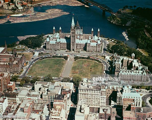 The Canadian parliamentary complex on Parliament Hill Ottawa Ontario Canada circa 1960 In the centre is the Centre Block showing the Peace Tower