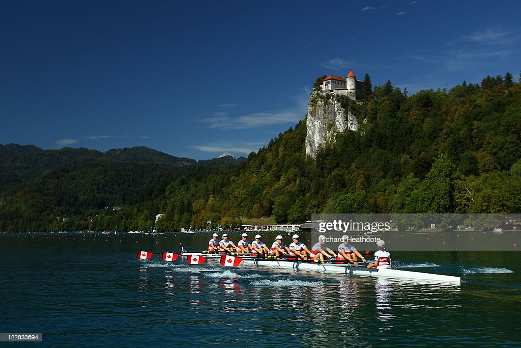 The Canadian Women's Eight compeate in the heats during day one of the FISA Rowing World Championships at Lake Bled on August 29, 2011 in Bled, Slovenia.