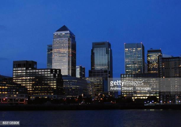 The Canary Wharf business centre in darkness as part of the Lights Out London campaign to promote green issues