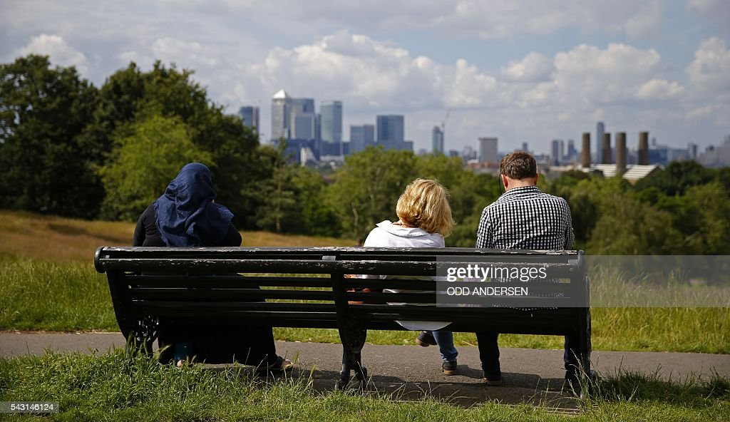 The Canary Wharf finance district of London, encompasing the offices of HSBC, Citigroup, JPMorgan Chase, Barclays, and other global banking corporations, is pitcured from Greenwich park in south-east London on June 26, 2016. British business minister Sajid Javid on Sunday urged companies not to panic following Britain's vote to leave the European Union (EU) despite dire warnings of the economic consequences of the Brexit vote. 'Our economic fundamentals remain strong. They're strong enough to weather any short-term market volatility,' he said, after Thursday's vote plunged global financial markets and the value of the pound. / AFP / ODD