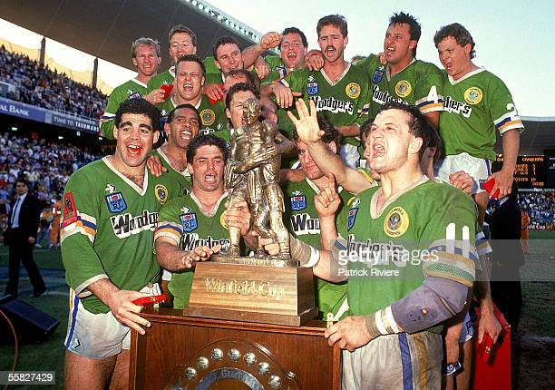 The Canberra Raiders celebrate winning the 1989 NSWRL Grand Final between the Canberra Raiders and the Balmain Tigers held at the Sydney Football...