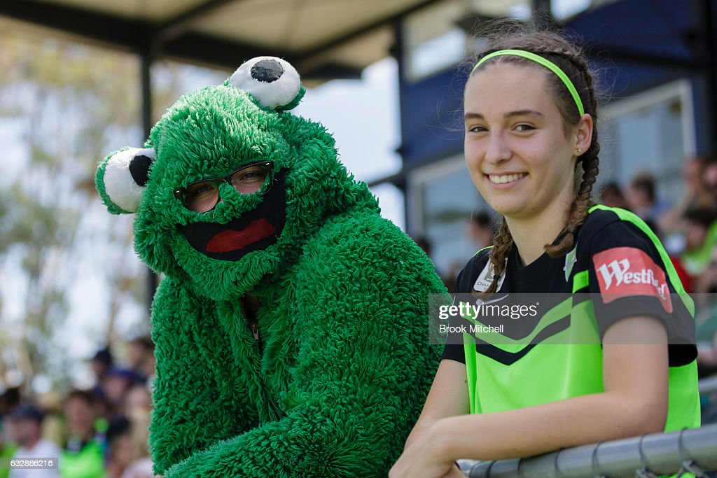 The Canberra United mascot and a young fan before the the round 14 W-League match between Canberra United and Melbourne Victory at McKellar Park on January 28, 2017 in Canberra, Australia.