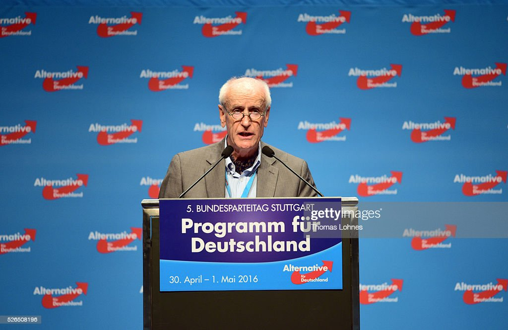 The candidat for the German presidential elections 2017 of the Alternative fuer Deutschland (AfD) Albrecht Glaser speaks at the party's federal congress on April 30, 2016 in Stuttgart, Germany. The AfD, a relative newcomer to the German political landscape, has emerged from Euro-sceptic conservatism towards a more right-wing leaning appeal based in large part on opposition to Germany's generous refugees and migrants policy. Since winning seats in March elections in three German state parliaments the party has sharpened its tone, calling for a ban on minarets and claiming that Islam does not belong in Germany.