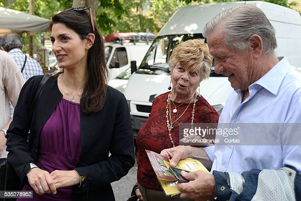 The Candidate for Mayor of Rome for the 5 Star Movement Virginia Raggi meets citizens and merchants of Viale Spartaco market on May 27 2016 in Rome...