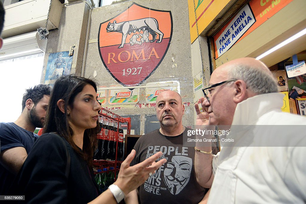 The Candidate for Mayor of Rome for the 5 Star Movement, Virginia Raggi, meets citizens and merchants of Viale Spartaco market, on May 27, 2016 in Rome, Italy.