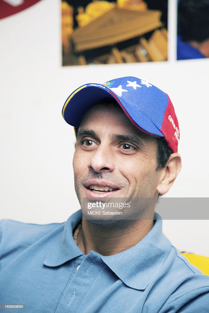 the candidate for presidential elections of Venezuela Henrique Capriles in his office on March 07, 2013 in Caracas, Venezuela.