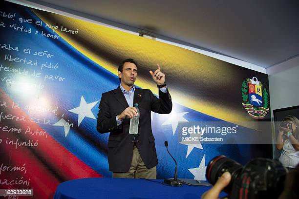 the candidate for presidential elections of Venezuela Henrique Capriles speaks on March 08 2013 in Caracas Venezuela