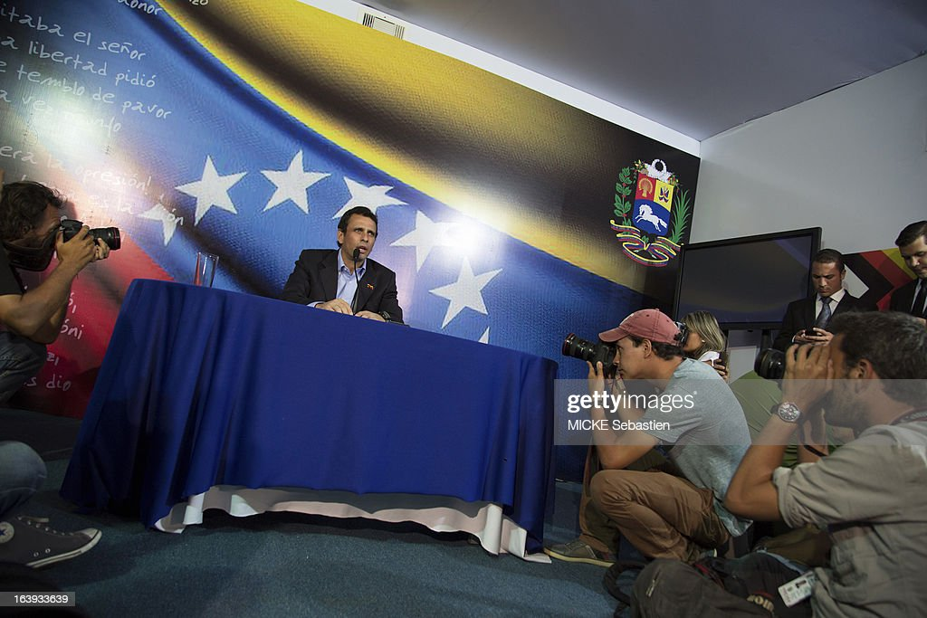 the candidate for presidential elections of Venezuela Henrique Capriles speaks on March 08, 2013 in Caracas, Venezuela.