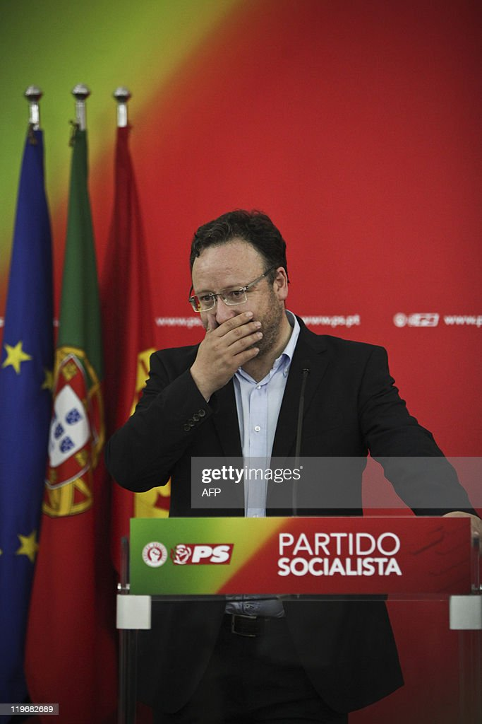 The candidate for secretarygeneral of the Socialist party Francisco Assis gives a speech after loosing the elections to Jose Antonio Seguro at the...