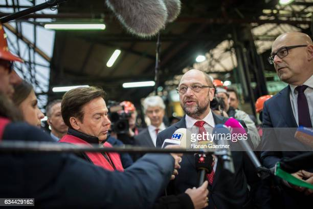 The candidate for the german chancellorship of the Social Democratic Party of Germany Martin Schulz visits together with Torsten Albig SPD prime...