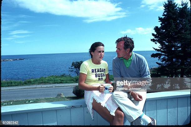 The Candidate For Vice President George Bush Sits With His Daughter Dorothy Near His Home September 1980 In Kennebunkport Me Bush Is The Running Mate...