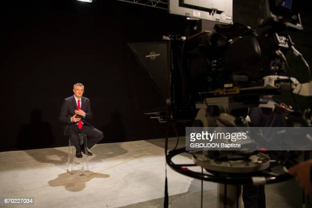 the candidate of the presidential election 2017 Jean Lassalle in the TV studio on april 05 2017 in Paris France