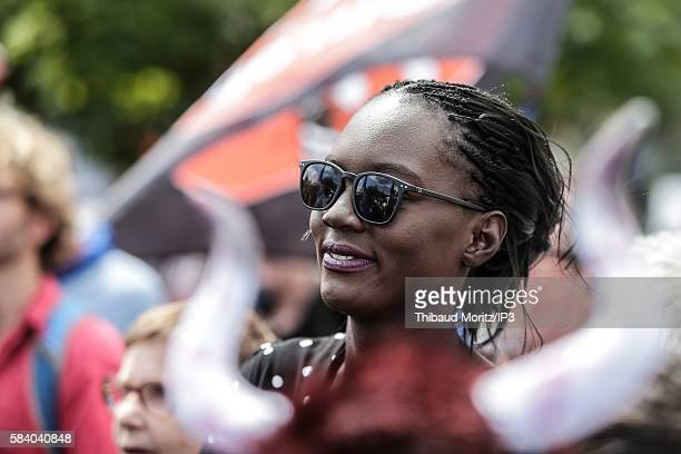 The candidate to the Presidential Election 2017 Rama Yade attends the demonstration against bullfighting during the Fêtes de la Madeleine on July 23...