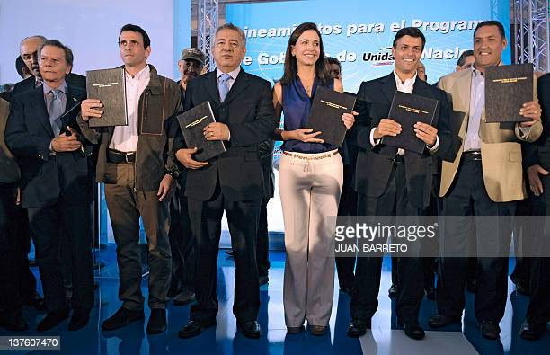The candidates for the primary elections of Venezuelan opposition Democratic Unity coalition Diego Arrias Capriles Radonsky Pablo Medina Maria Corina...