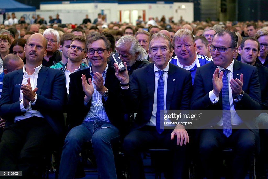 The candidates fort he supervisory board with Andreas Gossmann, Michael Stallmann, Peter Lange and <a gi-track='captionPersonalityLinkClicked' href=/galleries/search?phrase=Clemens+Toennies&family=editorial&specificpeople=1028829 ng-click='$event.stopPropagation()'>Clemens Toennies</a>, chairman of the board are seen during the FC Schalke 04 general assembly at Veltins Arena on June 26, 2016 in Gelsenkirchen, Germany.