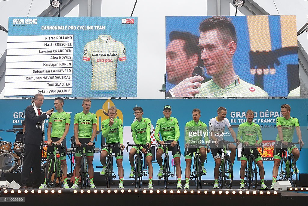 The Cannondale Pro Cycling Team is introduced during the team presentation ahead of the 2016 Le Tour de France on June 30, 2016 in Sainte-Mere-Eglise, France.