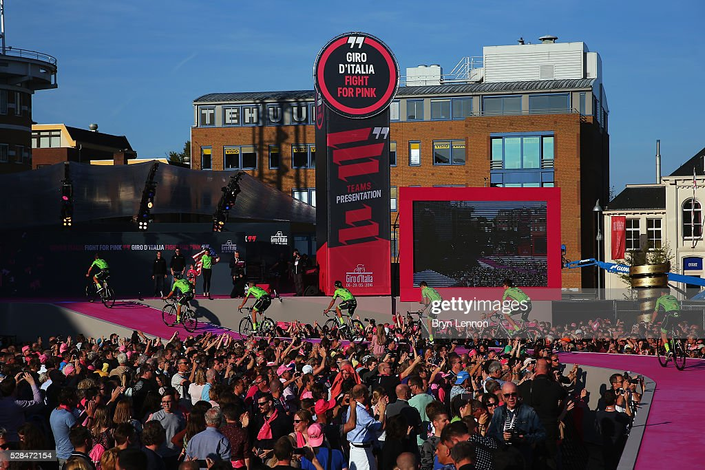 The Cannondale Pro Cycling Team team rides onto the stage during the Opening Ceremony and official Team Presentation for the 2016 Giro d'Italia at the City Hall on May 05, 2016 in Apeldoorn, Netherlands.