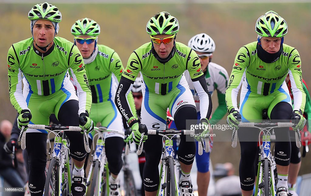 The Cannondale team climb the Cote de La Redoute during training for the 99th Liege-Bastogne-Liege cycle road race on April 19, 2013 in Liege, Belgium. (Photo by Bryn Lennon/Getty Images).