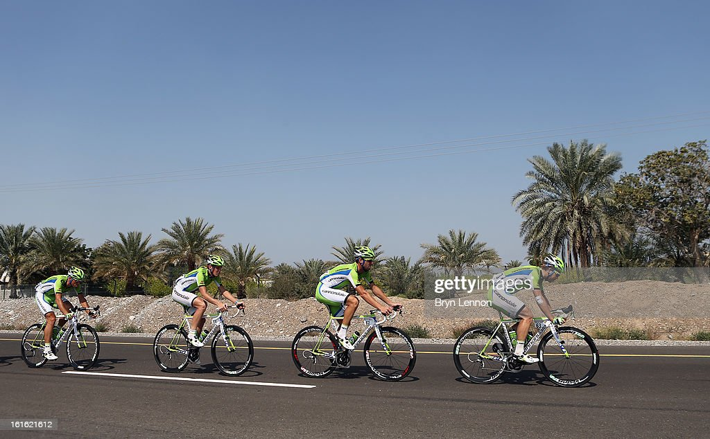 The Cannondale team lead the peloton during stage three of the 2013 Tour of Oman from Nakhal Fort to Wadi Dayqah Dam on February 13, 2013 in Wadi Dayqah Dam, Oman.