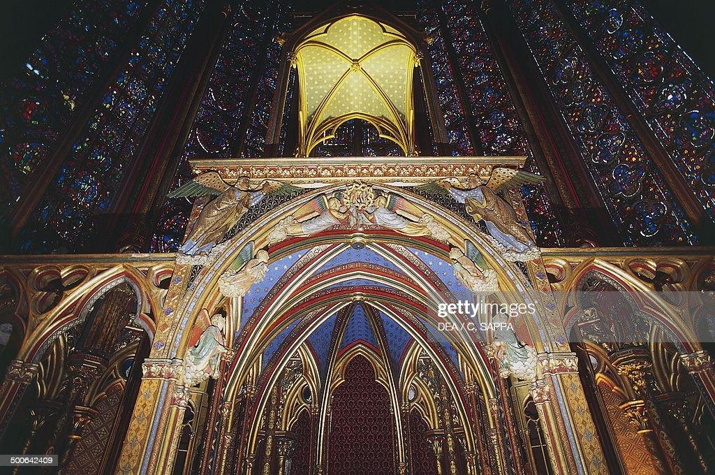 The canopy in the upper chapel, Sainte-Chapelle, 1246-1248, Paris, Ile-de-France, France, 13th century.