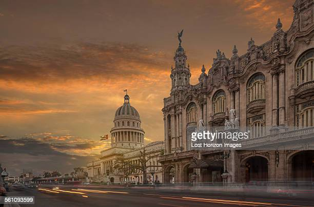 The Capitol building and the National Theater at sunset, Havana, Cuba