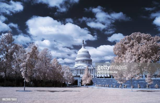 The Capitol building is seen through trees in Washington DC on September 26 2017 / AFP PHOTO / Andrew CABALLEROREYNOLDS