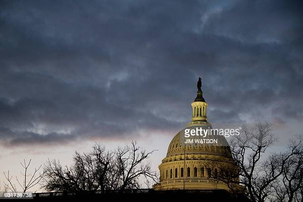 The Capitol dome is seen early on the morning of the dress rehearsal for the inauguration of Presidentelect Donald Trump January 15 2017 in...